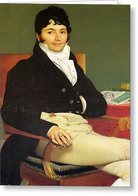 Riviere Paintings Greeting Cards - Monsieur Riviere Greeting Card by Jean-Auguste-Dominique Ingres