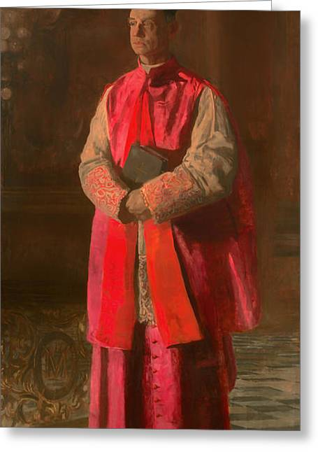 Religious Artwork Paintings Greeting Cards - Monsignor James Turner Greeting Card by Thomas Eakins