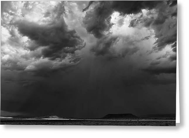 Meteorology Greeting Cards - Monsoon Afternoon - Black and White New Mexico Desert Photograph by Duane Miller Greeting Card by Duane Miller