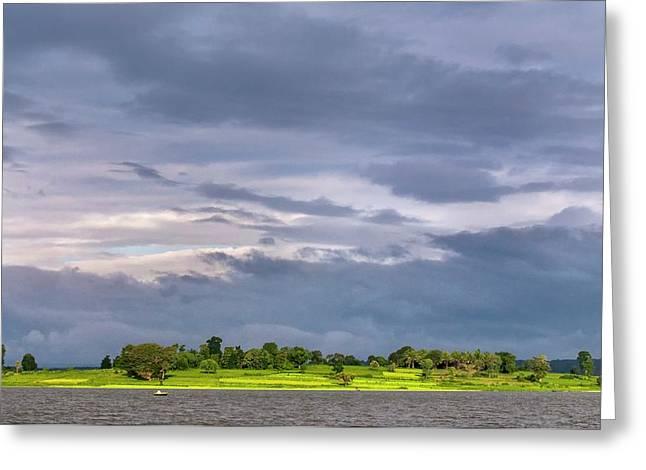Monsoon Clouds Over Landscape Greeting Card by K Jayaram