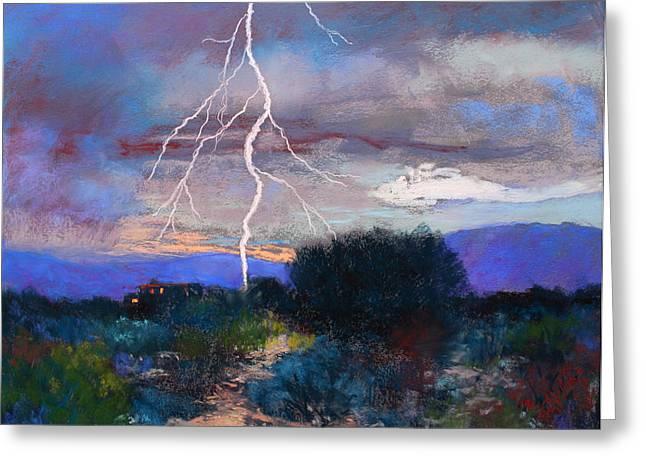 Lightning Pastels Greeting Cards - Monsoon Lightning Greeting Card by M Diane Bonaparte