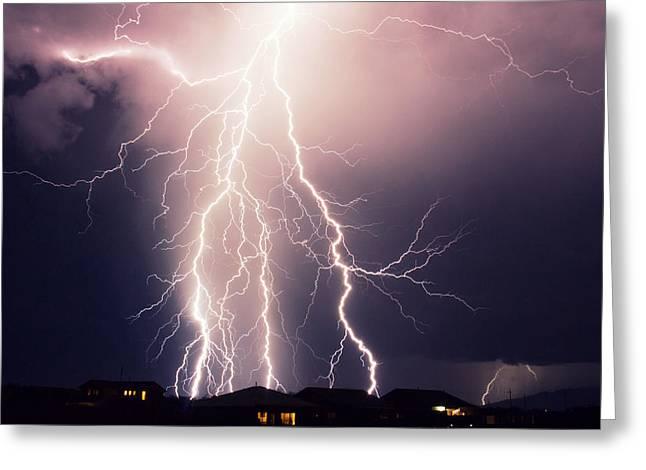 Arizona Lightning Greeting Cards - Monsoon Lightning Greeting Card by Pete Mecozzi