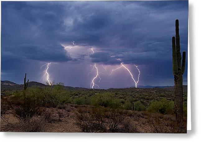 Arizona Lightning Greeting Cards - Monsoon Madness Strikes  Greeting Card by Saija  Lehtonen