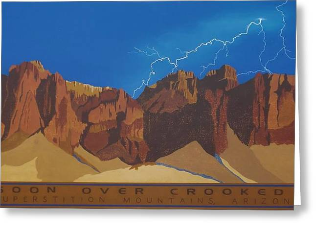 Arizona Lightning Paintings Greeting Cards - Monsoon Over Crooked Top Greeting Card by Julie Stubbs