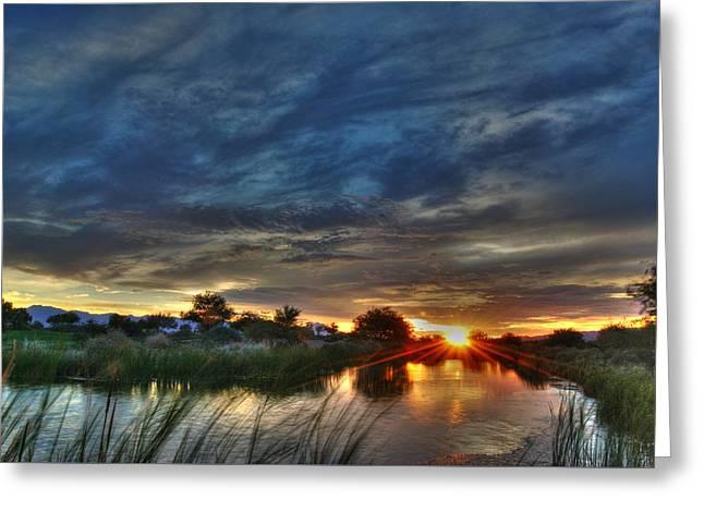 Monsoon Sunset Greeting Card by Tam Ryan