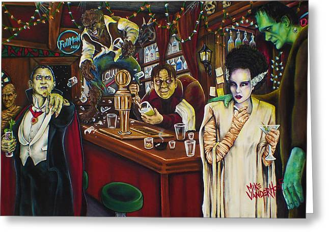 Wolfman Greeting Cards - Monster Bar by Mike Vanderhoof Greeting Card by Mike Vanderhoof