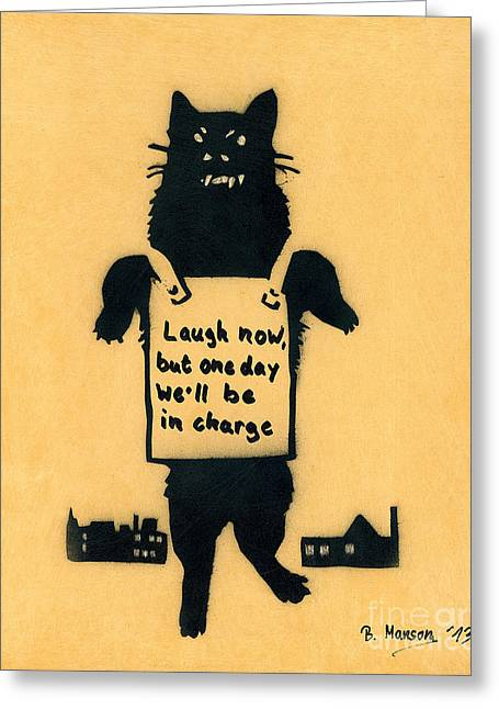 Banksy Paintings Greeting Cards - Monster Cat Greeting Card by Bela Manson