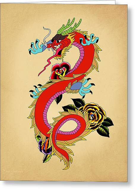 Tatoo Greeting Cards - Monster Dragon  Greeting Card by Mark Ashkenazi