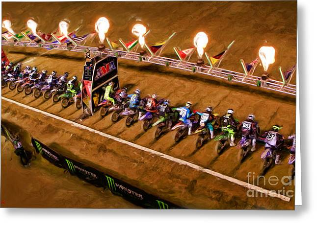 Supercross Greeting Cards - Monster Energy AMA SuperCross  250sx Main Greeting Card by Blake Richards
