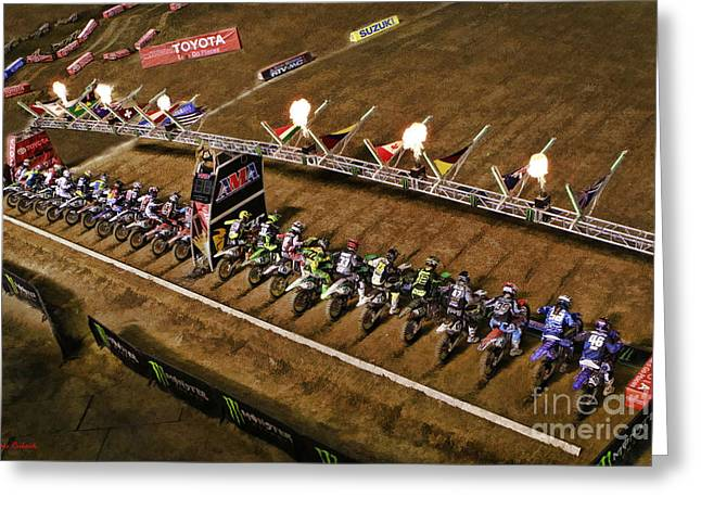 Supercross Greeting Cards - Monster Energy AMA SuperCross  450sx Main Greeting Card by Blake Richards
