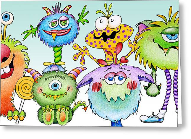 Ann Paintings Greeting Cards - Monster Friends Greeting Card by Annie Troe