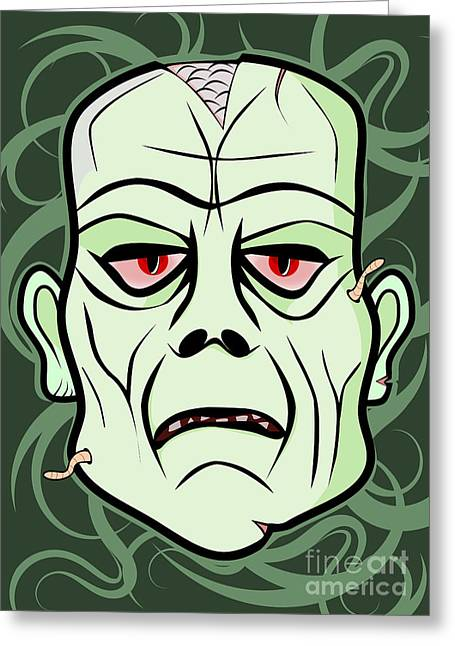 Horror Drawings Greeting Cards - Monster head Greeting Card by Martin Capek