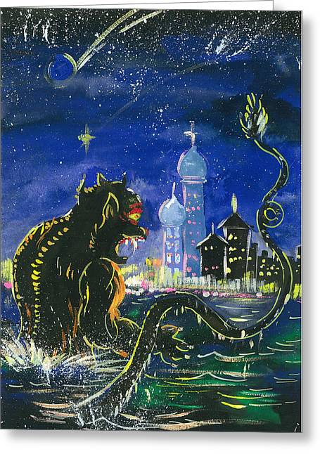 Monster In The City Greeting Card by Amberlyn How