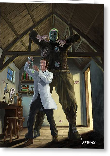 Horror Illustration Greeting Cards - Monster In Victorian Science Laboratory Greeting Card by Martin Davey