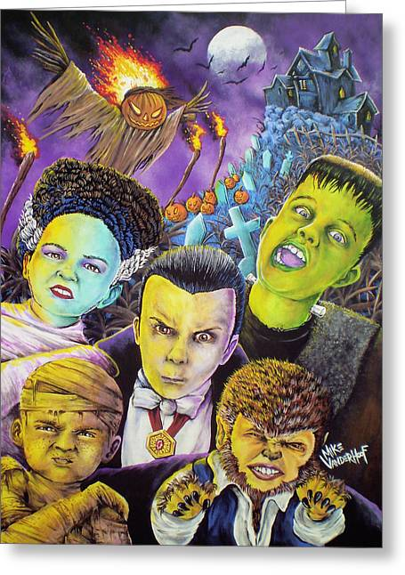 Universal Monsters Greeting Cards - Monster Kids Greeting Card by Mike Vanderhoof
