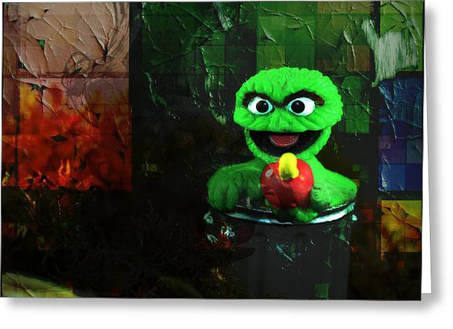 Sesame Street Greeting Cards - Monster Madness Oscar  Greeting Card by Terry Fleckney