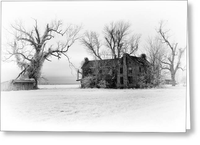 White Frame House Greeting Cards - Monster Manor - Horror House on Outer Banks Greeting Card by Dan Carmichael