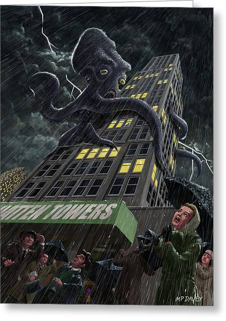 Giant Squid Greeting Cards - Monster Octopus attacking building in storm Greeting Card by Martin Davey
