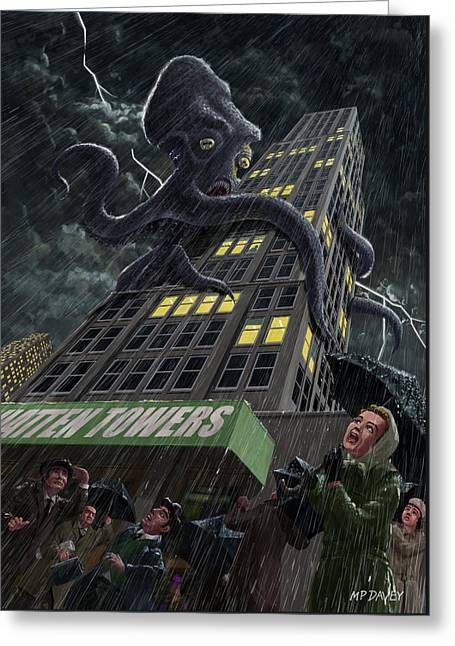 Monster Octopus Attacking Building In Storm Greeting Card by Martin Davey