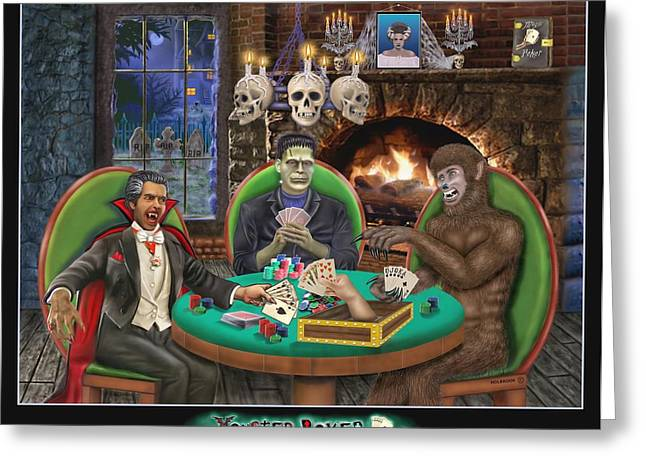 Haunted House Greeting Card Greeting Cards - Monster Poker Greeting Card by Glenn Holbrook