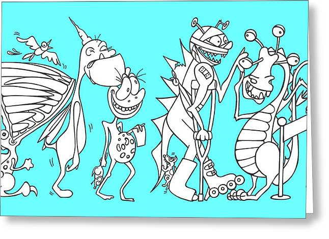 Funny Monsters Greeting Cards - Monster queue blue Greeting Card by Konni Jensen