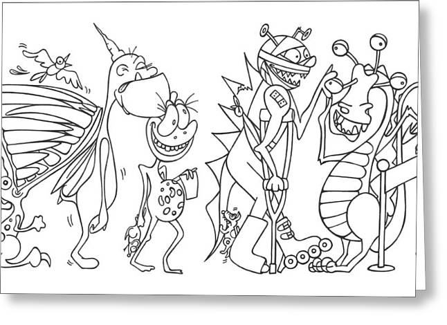 Funny Monsters Greeting Cards - Monster  queue Greeting Card by Konni Jensen