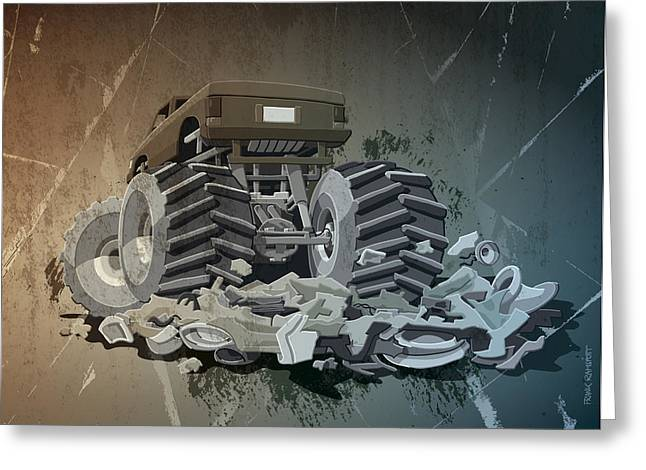 Motor Greeting Cards - Monster Truck Grunge Greeting Card by Frank Ramspott