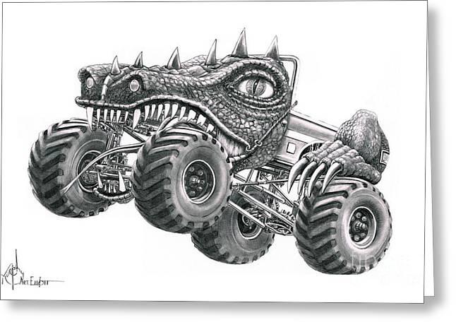 Broncos Drawings Greeting Cards - Monster Truck Greeting Card by Murphy Elliott