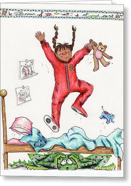 Pajamas Greeting Cards - Monster Under The Bed Greeting Card by Kelly Walston