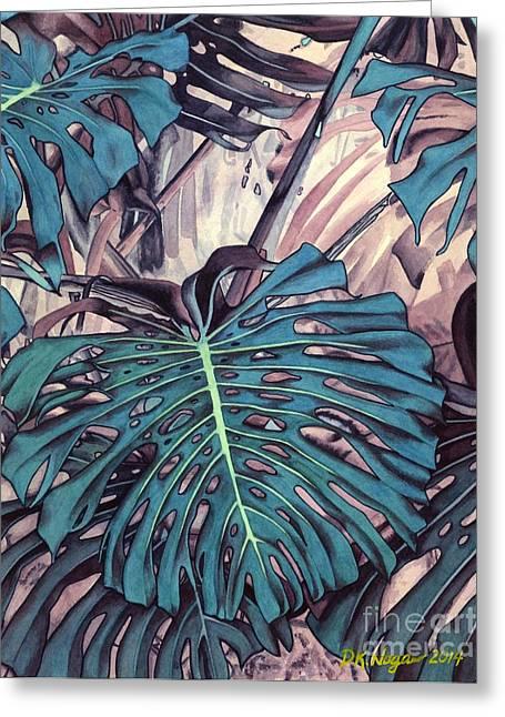 """jungle Vines"" Greeting Cards - Monstera Blues Greeting Card by DK Nagano"