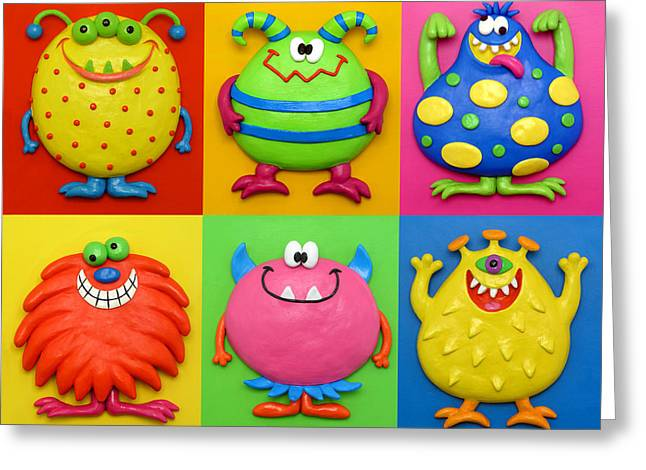 Character Sculptures Greeting Cards - Monsters Greeting Card by Amy Vangsgard
