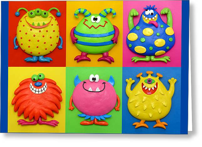 Illustration Sculptures Greeting Cards - Monsters Greeting Card by Amy Vangsgard
