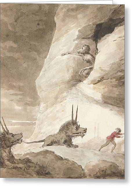 Fantasy Creature Greeting Cards - Monsters Chasing A Man Greeting Card by George Dance