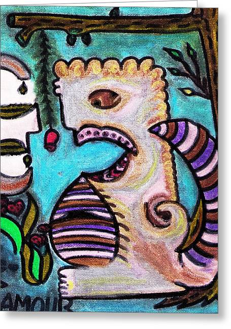 Lois Picasso Greeting Cards - Monsters Love Life Too Greeting Card by Lois Picasso