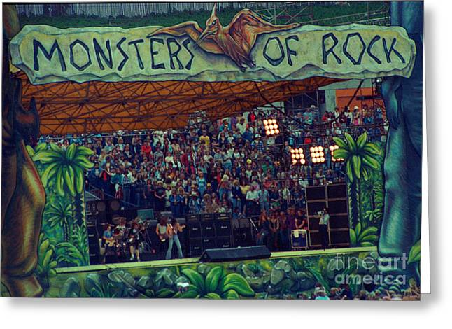 Angus Young Greeting Cards - Monsters of Rock Stage while A C D C Started their Set - July 1979 Greeting Card by Daniel Larsen