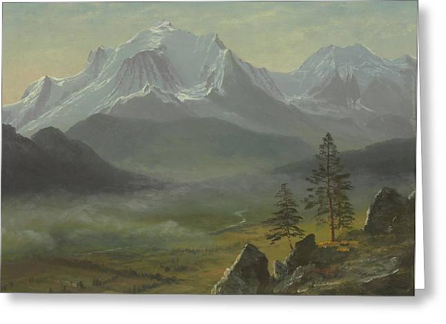 Landscape. Scenic Paintings Greeting Cards - Mont Blanc Greeting Card by Albert Bierstadt