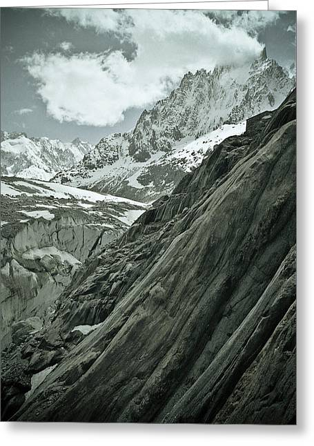 Extreme Sport Greeting Cards - Mont Blanc Glacier Greeting Card by Frank Tschakert