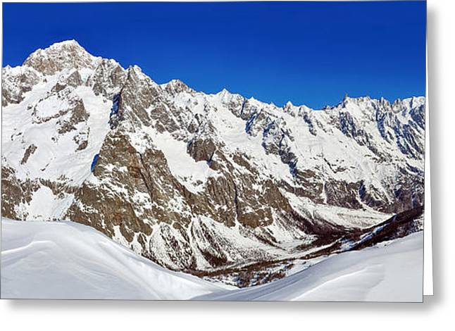Mountain Valley Greeting Cards - Mont Blanc Panorama Greeting Card by Mihai Lefter
