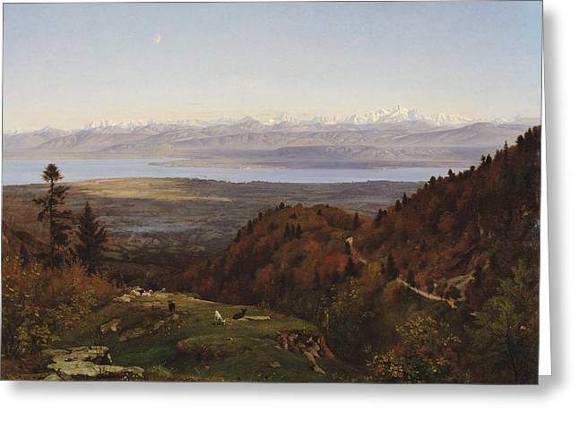 Mont-blanc Seen From Saint-cergues, 1869 Greeting Card by Francois Louis Francais