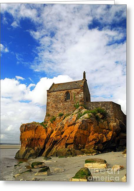Stones Greeting Cards - Mont Saint Michel abbey fragment Greeting Card by Elena Elisseeva