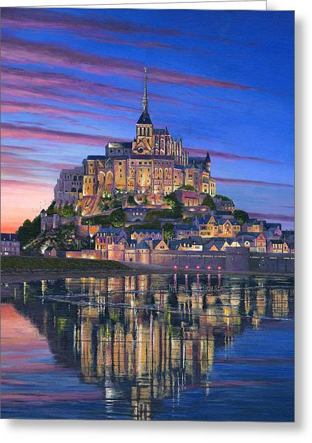 Buildings Greeting Cards - Mont Saint-Michel Soir Greeting Card by Richard Harpum