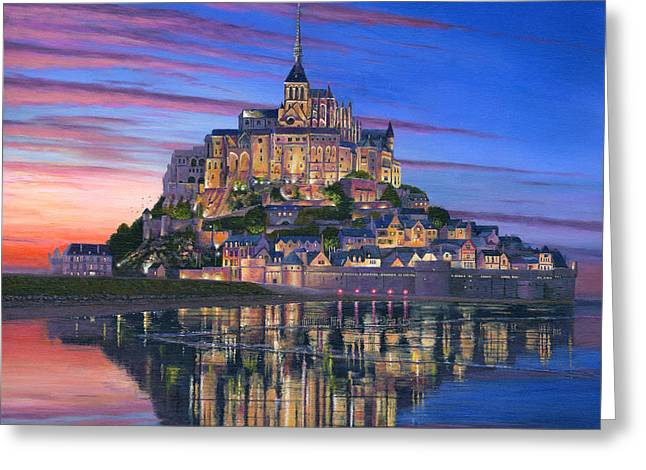 Prints For Sale Paintings Greeting Cards - Mont Saint-Michel Soir Greeting Card by Richard Harpum