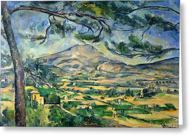 Victoire Paintings Greeting Cards - Mont Sainte-Victoire with Large Pine Greeting Card by Paul Cezanne