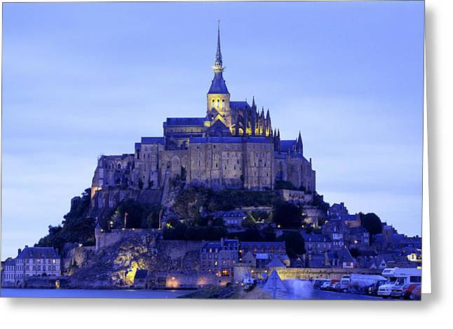 Romanesque Greeting Cards - Mont St Michel Brittany France Greeting Card by Panoramic Images
