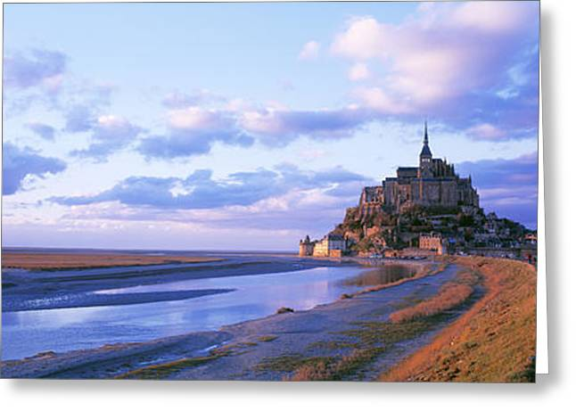 Medieval Architecture Greeting Cards - Mont St Michel France Greeting Card by Panoramic Images