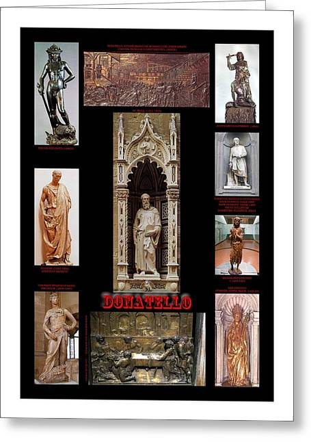 James Reliefs Greeting Cards - Montage Of Donatello Greeting Card by James William Allen