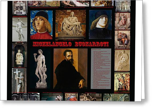 James Sculptures Greeting Cards - Montage Of Michelangelo Greeting Card by James William Allen
