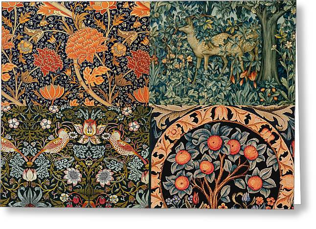 Wallpaper Tapestries Textiles Greeting Cards - Montage of Morris Designs Greeting Card by Philip Ralley