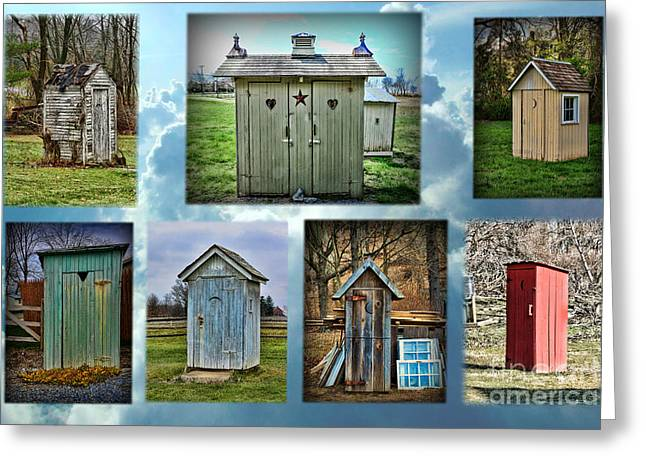 Outdoor Toilets Greeting Cards - Montage of Outhouses Greeting Card by Paul Ward