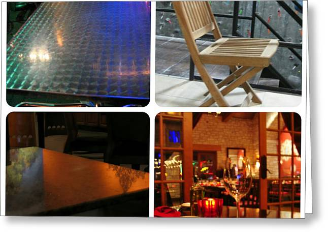 Restaurant On Top Greeting Cards - Montage Tables And Chairs Greeting Card by ARTography by Pamela  Smale Williams